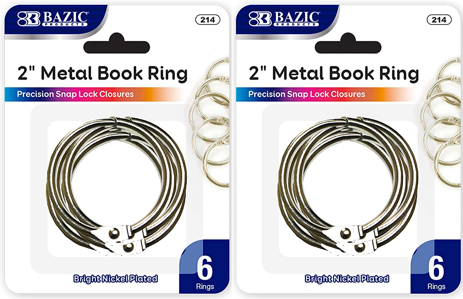 BAZIC 2 Inch Silver Metal Book Rings, Loose Leaf Binder Book Flash Cards Keychain Flashcards Index Card Key Ring for School Home Office (6/Pack), 2-Pack