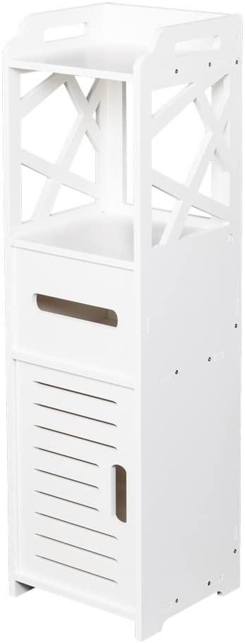 Goujxcy Bathroom Free Standing Cabinet with Door and Shelf Narrow 3-Tier Corner Bath Rack Chest Toilet Paper Holder Orgainzer - White