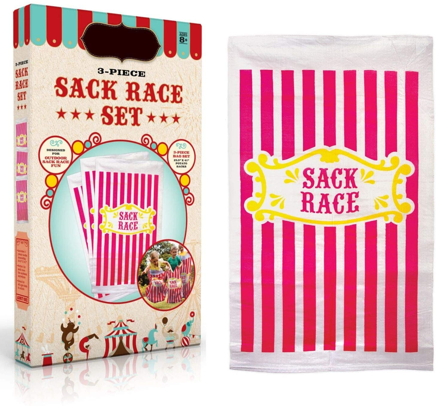 Sack Race Bags For Kids And Adults - 3 Pcs Set. Great For Outdoor Games, Kids Outside Activities. Potato Sack Race Bags For Kids, Fun Carnival Games Easter Games, Family Game Events amd Party Games