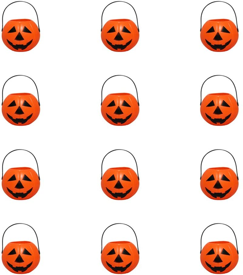 DOITOOL Halloween Candy Bucket for Kids Trick or Treat Candy Buckets 12 Pcs Pumpkin Candy Holder Mini Trick-or-Treat Halloween Candy Bucket (Triangular Eyes)