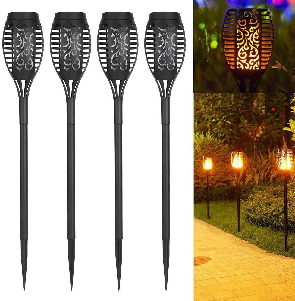 LED Flashing Flame Lights,4PCS Solar Waterproof Garden Lawn Lights,Solar Power Torch Shaped Flickering Flame Light Outdoor Garden Waterproof Yard Lamp