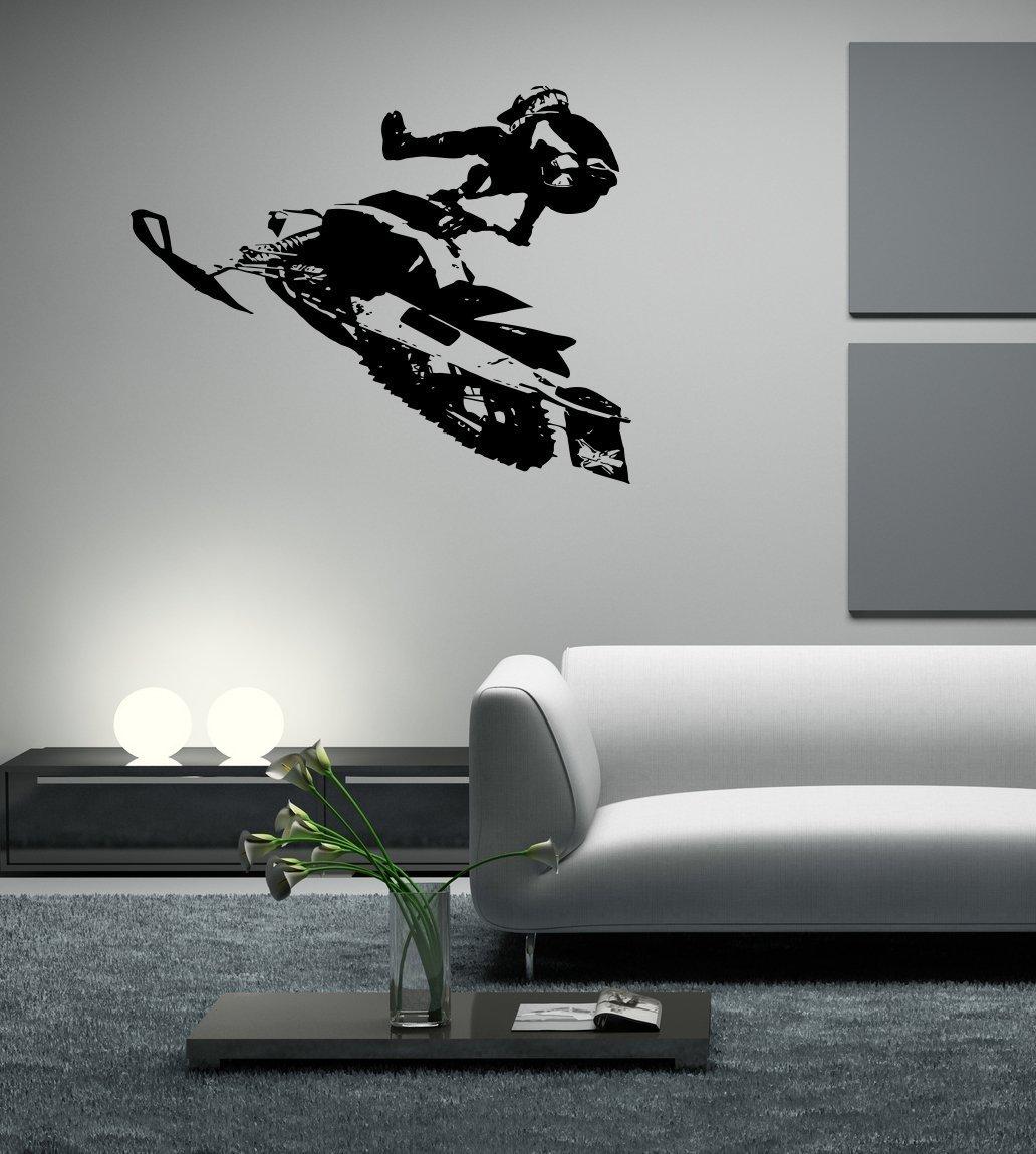 Ski Doo Jumping Snowmobile Sport Race Kids Room Children Stylish Wall Art Sticker Decal G9366 (48x52) (22x23)