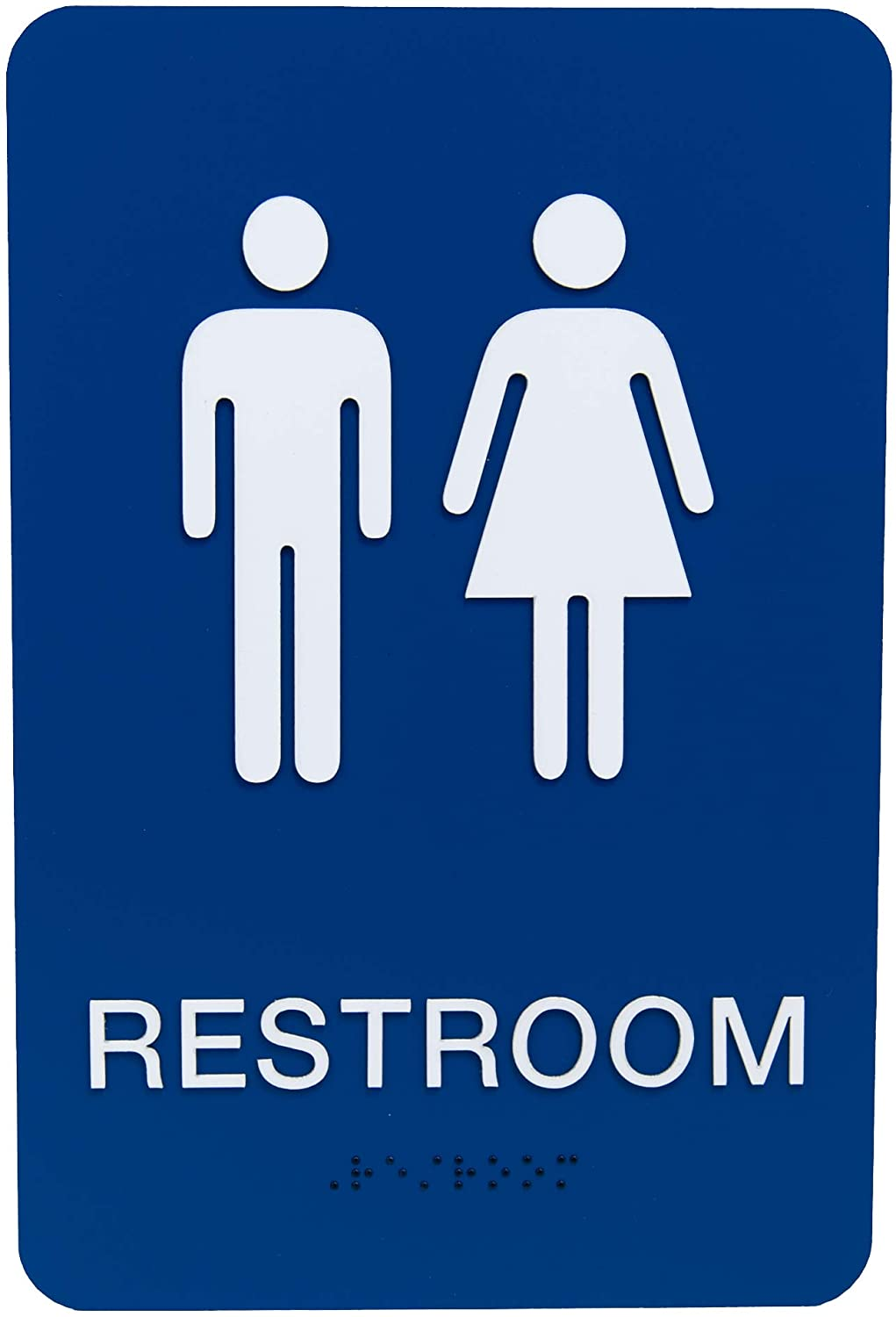 Non-Accessible/Wheelchair Unisex Gender Neutral ADA Restroom (Bathroom) Sign w/Braille - Blue