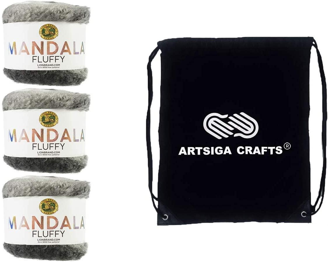 Lion Brand Knitting Yarn Mandala Fluffy Viperfish 3-Skein Factory Pack (Same Dye Lot) 529-610 Bundle with 1 Artsiga Crafts Project Bag