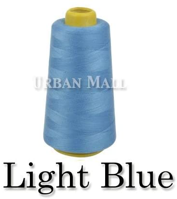 6000 Yards Light Blue Sewing Thread All Purpose 100% Spun Polyester Spools Overlock Cone (Upholstery, Canvas, Drapery, Beading, Quilting)