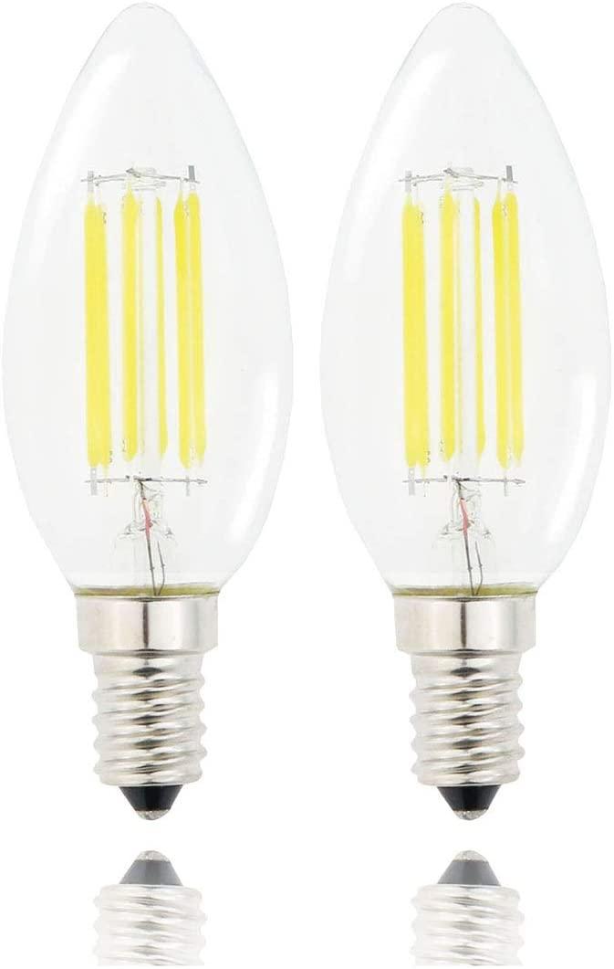 Lamsky E14 LED Filament Candle Shape Light Bulb,E14 European Base Bulb,Daylight 6000K 600LM 60W Equivalent,C35 Clear Glass Torpedo Shape Bullet Top,No-Dimmable (2-Pack)