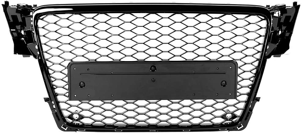 KIMISS ABS Honeycomb Mesh Grill (Car Front Bumper Mesh Grill Modification Fit for A4 / S4 B8 09-12) Black Front Bumper Grill