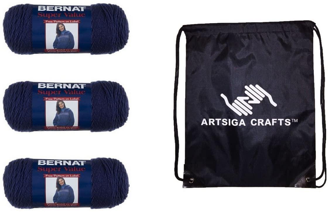 Bernat Knitting Yarn Super Value Solid Denim Heather 3-Skein Factory Pack (Same Dyelot) 164053-53114 Bundle with 1 Artsiga Crafts Project Bag
