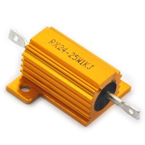 Electronics-Salon 2PCS 1K OHM 25W Wirewound Aluminum Housed Resistor.