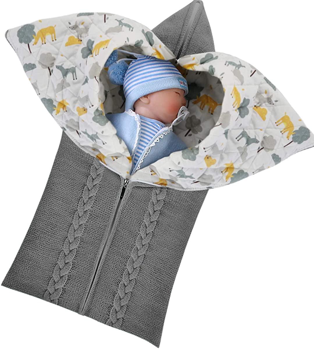 Josopa Newborn Baby Swaddle Knit Stroller Wrap, Toddler Thick Warm Sleeping Bag Sleep Sack, Fleece Receiving Nap Blanket for Boys Girls (White)