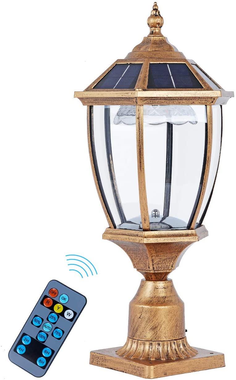 GYDZ Solar Post Outdoor Light Fixtures,Exterior Solar Pillar Light with Decorative Led (Warm+Cool White+Red),Bronze Solar Post Light Outdoor with Clear Glass for Garden,Pathway,Pillar Porch