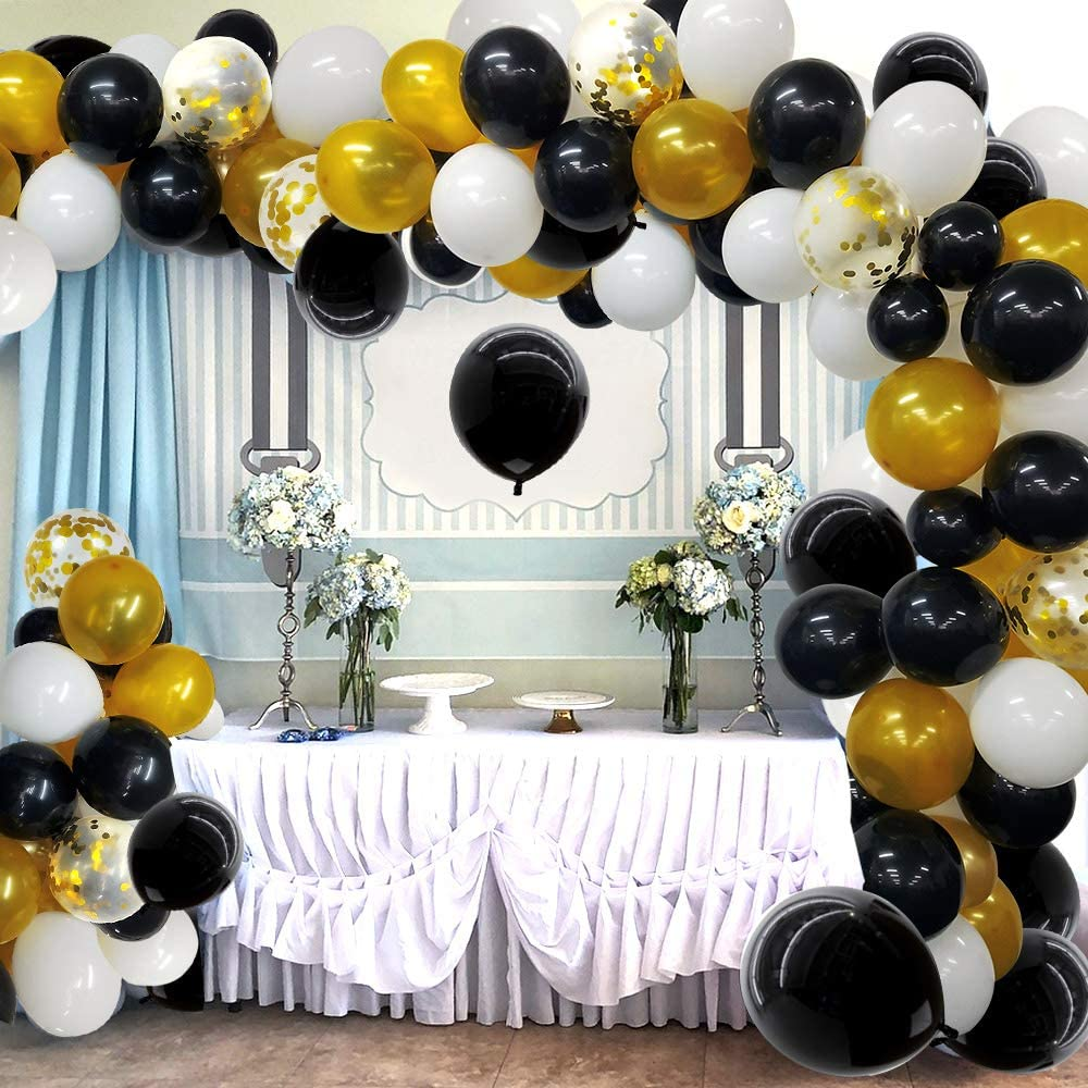 Black and Gold Balloon Garland Arch Kit 118 Pcs Gold and Black White Balloons with 16Ft Balloon Strip