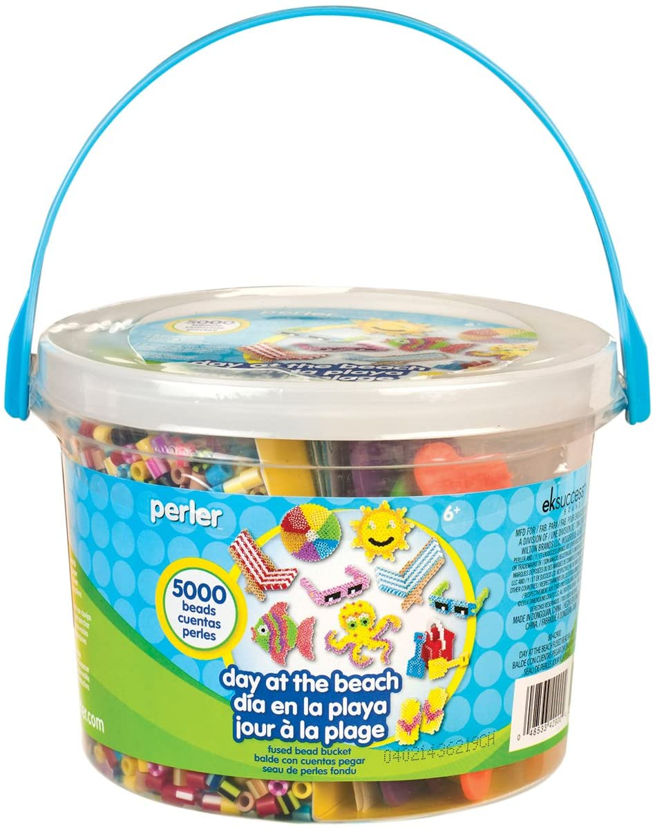 Perler Beads Day at The Beach Fuse Bead Bucket Craft Activity Kit, 5006 pcs