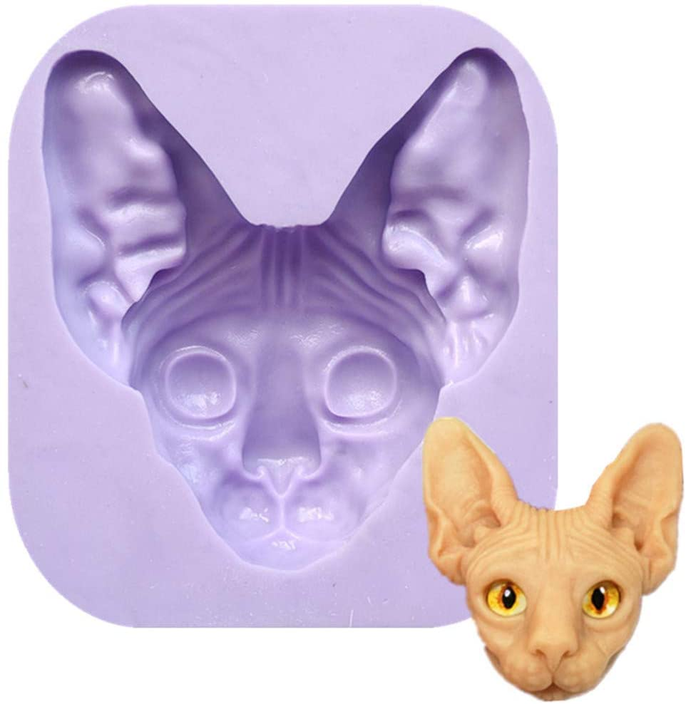 Cats Fondant Silicone Molds, Animals Cats Head Mold Chocolate Candy Mold Sugar Craft Molds Cake Decorating tools by Runloo (Style 2)