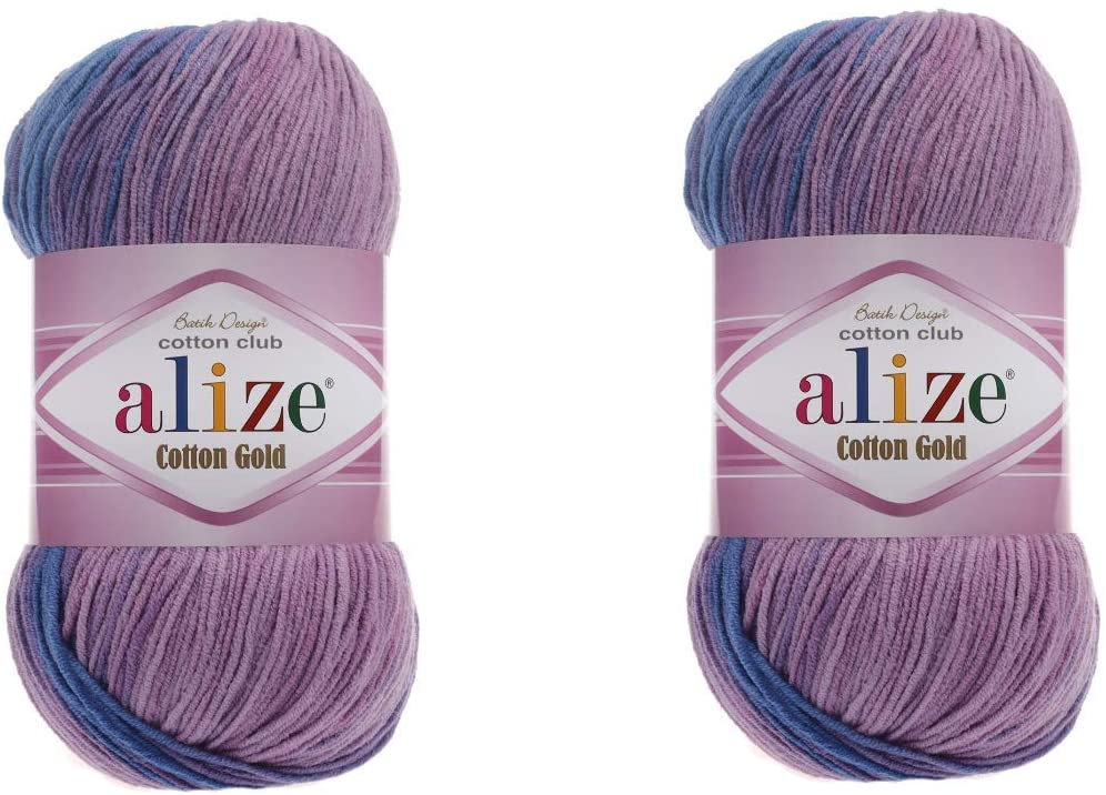 Alize Cotton Gold Batik Yarn 55% Cotton 45% Acrylic Lot of 2 Skein 200gr 722yds Knitting Acrylic Cotton 2 Sport Yarn (4531)
