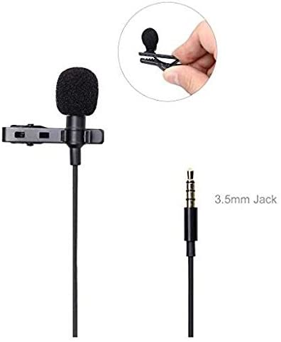 Oenbopo 3.5mm Clip On Lapel Microphone Hands Free Wired Condenser Mini Lavalier Mic