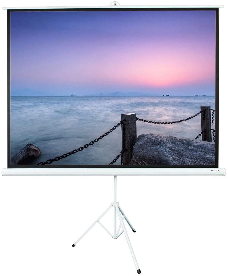 Projector Screen with Stand 100 inch - Indoor and Outdoor Projection Screen for Movie or Office Presentation - 4:3 HD Premium Wrinkle-Free Tripod Screen for Projector