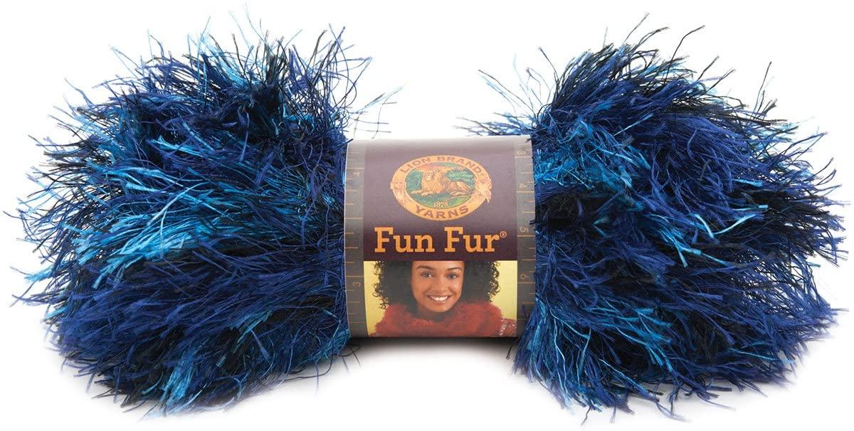 Lion Brand Yarn 320-305A Fun Fur Yarn, Deep Sea