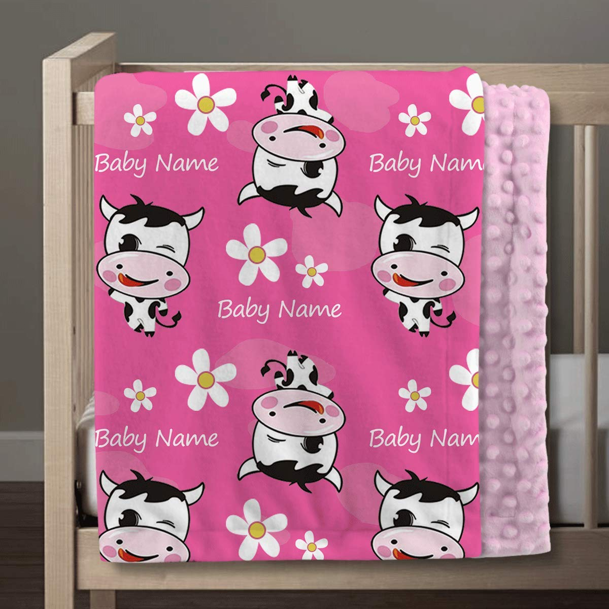 Customized Baby Newborn Gifts, Soft Plush and Cozy Minky Dot, Personalized Baby Lovely Cow Blankets for Girls with Name, 30