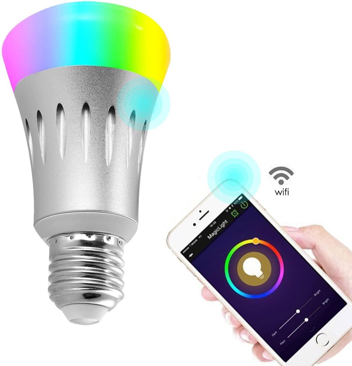 Wifi Led light bulbs,Wallfire 7W E27 Wireless WiFi Remote Control Smart Bulb Lamp Light For Echo Alexa