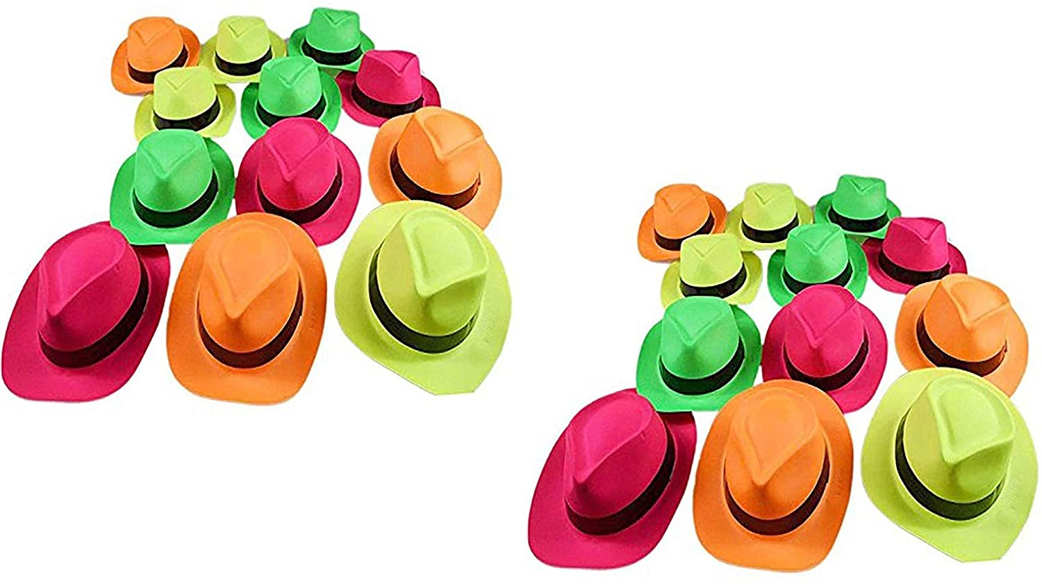 Ifavor123 Pack of 24 Bright Neon Color Plastic Gangster Hats – Themed Party Fedora Hat Accessory