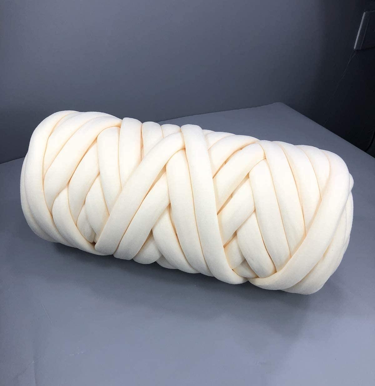 Chunky Cotton Tube Yarn Thick Vegan Yarn Merino Wool Alternative DIY Bulky Knitting Blanket Hand Knitting Spin Yarn Machine Washable Beige 4.4 LB