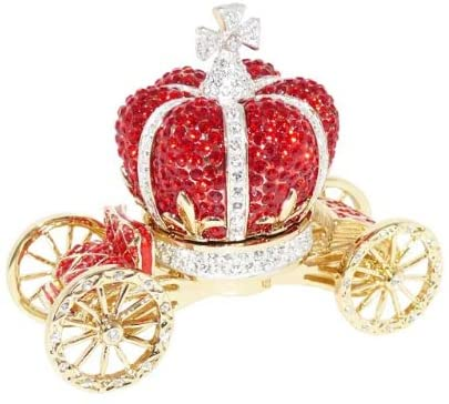 Crystalized Vintage Collectible Royal Red Cinderella Carriage Cart Antique Gift Decoration Figurine Trinket Jewelry Box