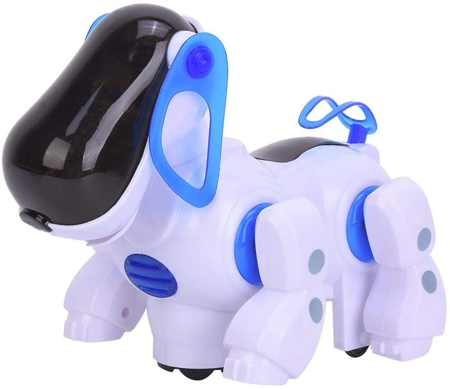 Electronic Toy Dog, Interactive Sing Dance Robot Dog Pet Toy Intelligent Walking Puppy with Music Light Gifts for Kids Children(Blue)