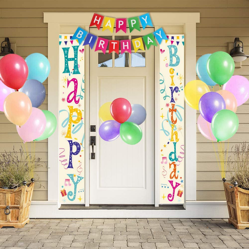 partyGO Colorful Happy Birthday Porch Sign, Premium Colorful Banner, Macaron Balloons for Outdoor Birthday Decorations, Birthday Yard Sign, Birthday Party Supplies (Colorful 1)…