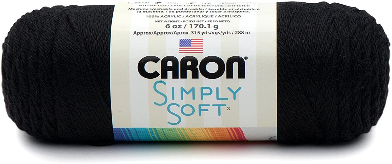 Caron Simply Soft Yarn 6oz (9727) Black By The Each