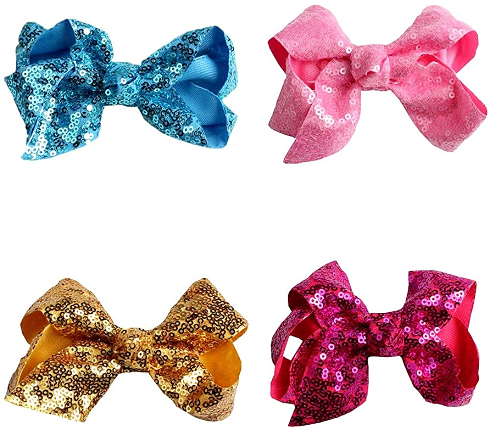 Baby Girls Newborn Toddler Kids and Woman Elastic Sequin Hairbands and Bow Hairpin Ornaments Nylon Headbands