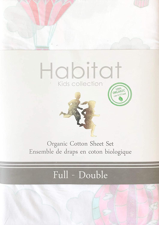 Habitat Kids Sheet Set Pastel Hot Air Balloons on White 100% Organic Cotton Luxury (Full)