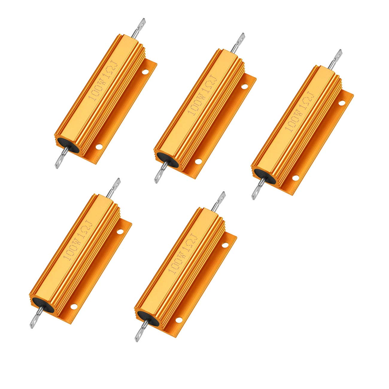 HLin Gold Tone 100W 1 Ohm 5% Aluminum Housed Wire Wound Resistor 5Pcs
