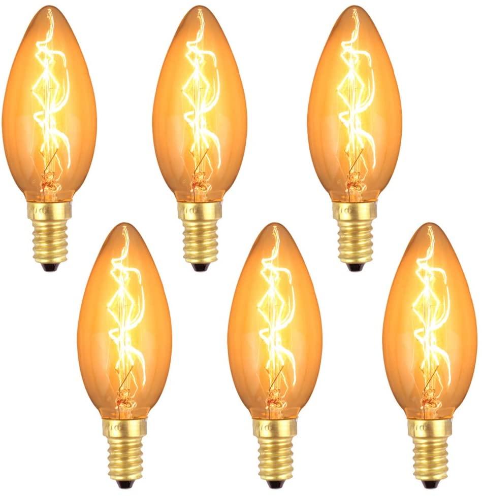 MD Lighting 40W E12 C35 Dimmable Edison Candelabra Bulbs(6 Pack), 2200K Amber Warm Incandescent Light Bulbs Vintage Torpedo Shape Decorative Lighting for Bar Restaurant Cafe Home Kitchen, 110V