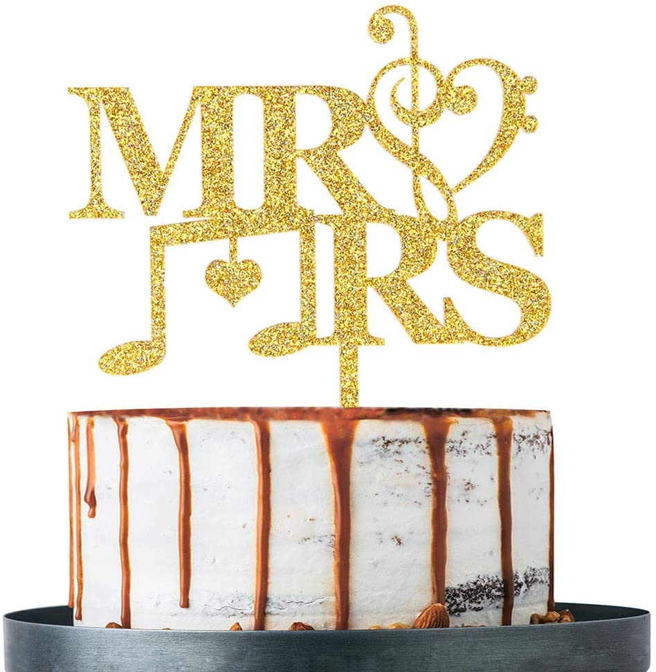 Gold Glitter MR & MRS Cake Topper, Wedding Cake Toppers for Couple, Wedding Party Decoation Supplies, Wedding Cake Decorations (Acrylic)
