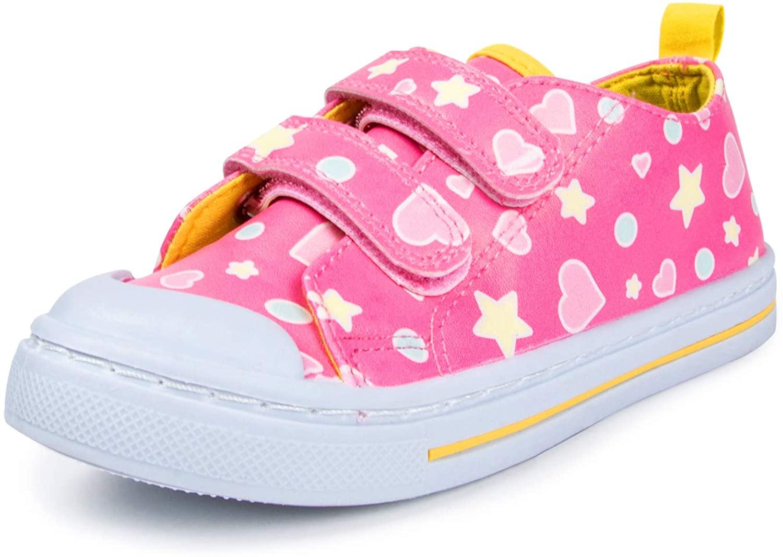 SHOFORT Toddler Kids Boy Girl Toddler Sneakers Cartoon Dual Hook and Loops Baby Sneakers Shoes