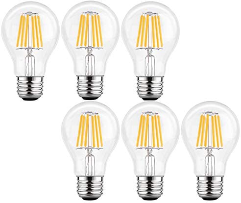 KLED LED Vintage Edison Bulb, Dimmable, A19 4W (40W Equivalent), LED Filament Bulb, 400 Lumen, 2700K (Warm White), Medium Base E26, CRI 85+, UL-Listed (Pack of 6)