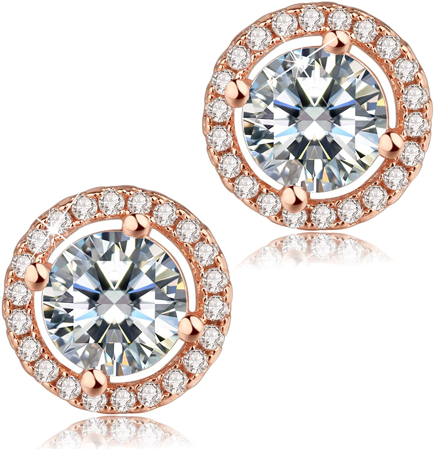 Madeone 18K Rose Gold Plating Round Cut 1.66ct Cubic Zirconia Halo Stud Earring Hypoallergenic Christmas Jewelry Gifts for Women with Box Packing