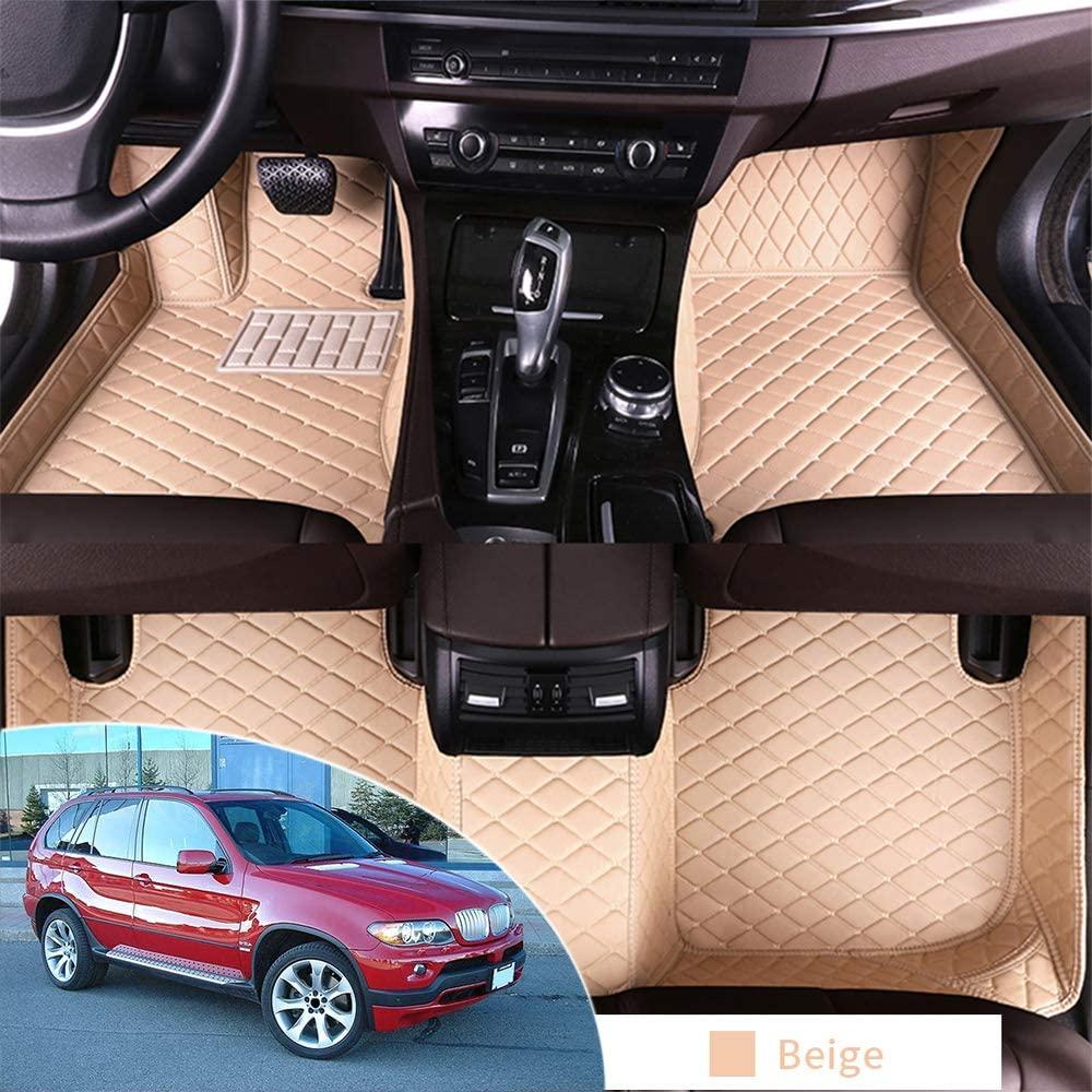 Car Interior Floor Mat for BMW X5 E53 2004-2007 Full Protection Car Accessories Beige 3 Piece Set