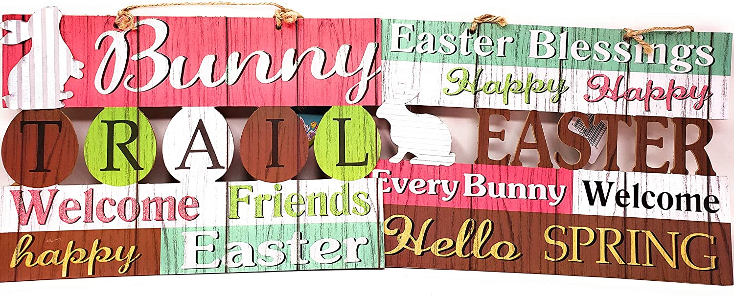 Hobbeez Easter Bunny Trail Welcome Signs, Hello Spring, Easter Blessings, Happy Easter, MDF Decor for Home, School, Church or Classroom! 13x9 inces