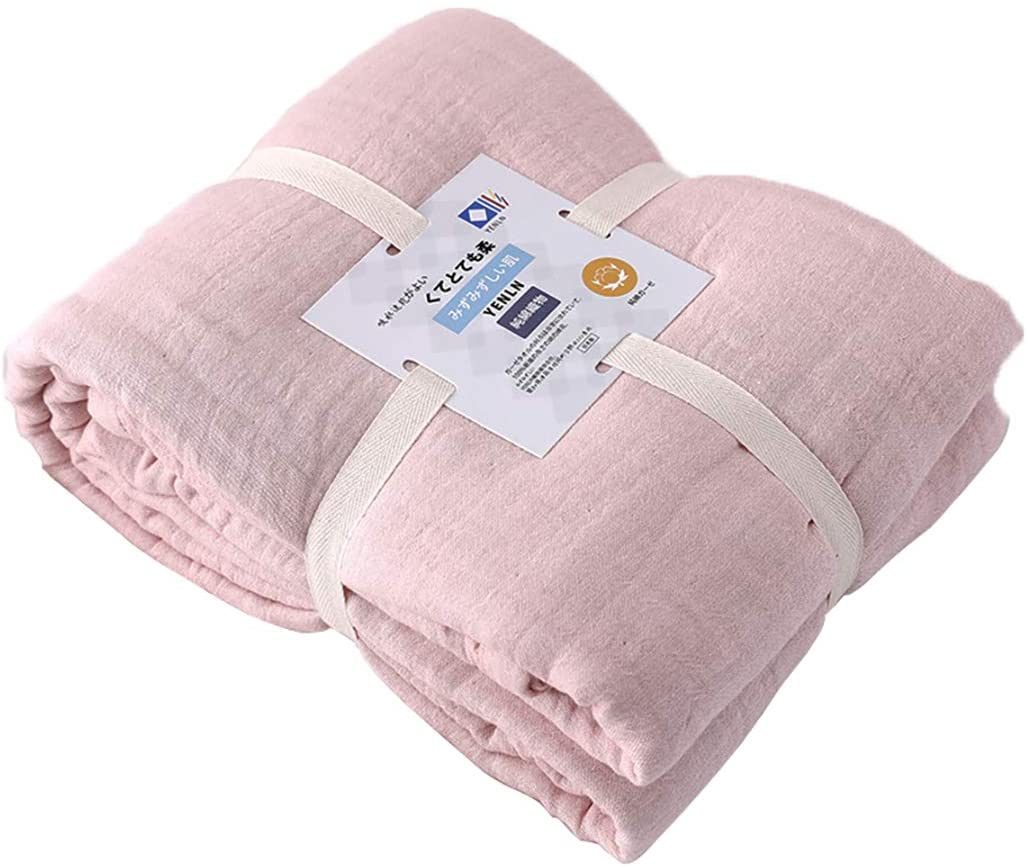YENLN 100% Cotton Bed Blanket 4 Layer Thick Lightetweight Super Soft Throw Blanket,Soft Cozy Gauze Blanket Perfect for Home Bed Sofa Couch Air Conditioning Car Travel Camping 59'' x 79'' Pink