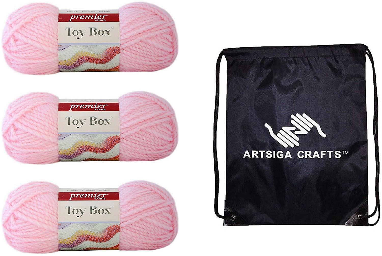 Premier Knitting Yarn Toy Box Kite 3-Skein Factory Pack (Same Dye Lot) 1056-11 Bundle with 1 Artsiga Crafts Project Bag