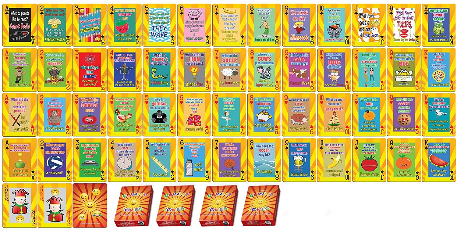 Creanoso Playing Cards Novelty Fun Jokes for Kids Bulk Set (4-Deck) - Favors Decor Supply - Stocking Stuffers Gifts for Young Reader Christmas Holidays Activities Poker Size Standard Decks