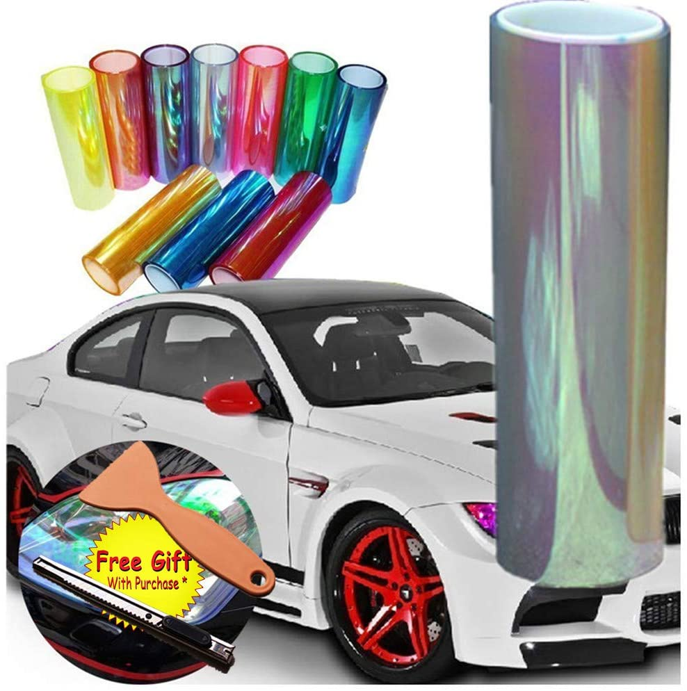 DIYAH 12 X 48 inches Self Adhesive Shiny Chameleon Headlights Tail Lights Fog Lights Films,Film Sheet Sticker,Tint Vinyl Film with Gift Knife and Hand Tool (Clear)