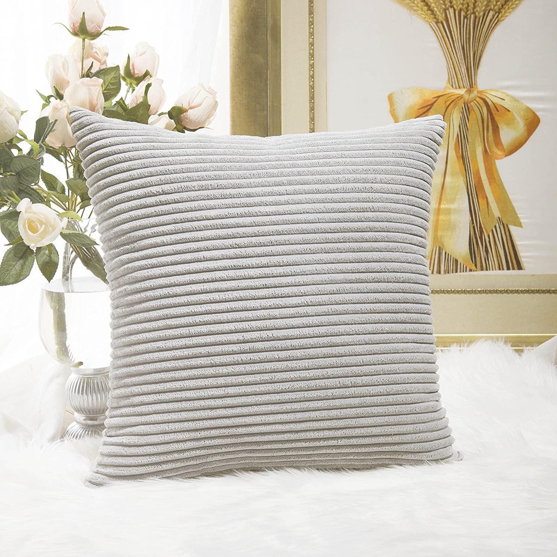 Home Brilliant Striped Velvet Cushion Cover for Chair Supersoft Handmade Decorative Pillowcase, Light Grey, 18