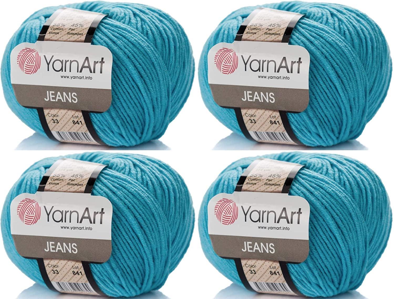 4 Skeins YarnArt Jeans 55% Cotton 45% Acrylic Yarn Blend Thread Crochet Hand Knitting Art Lot of 4skn 200 gr 696 yds (33-Blue)