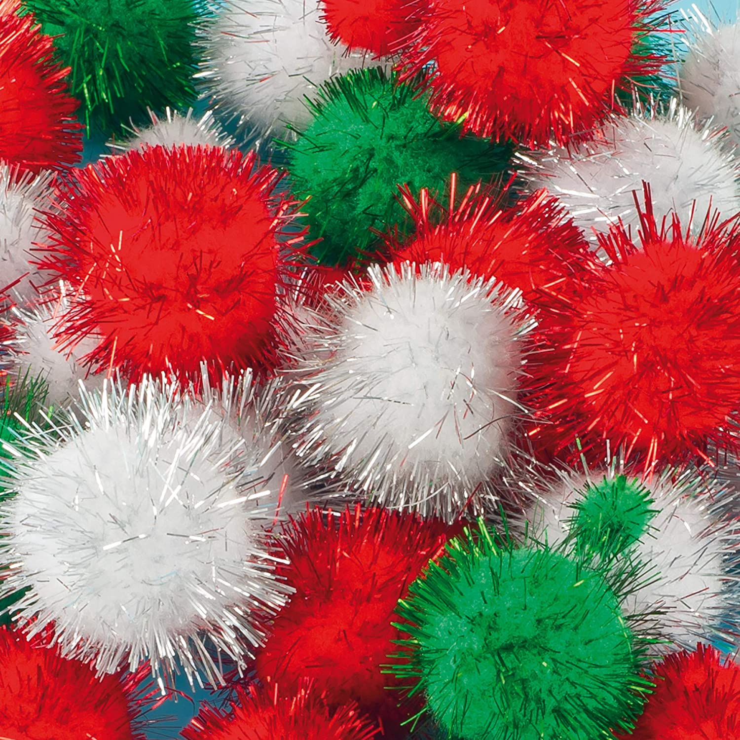 Baker Ross Christmas Glitter Pom Poms Value Pack — Ideal for Kids' Arts and Crafts, Gifts, Keepsakes and More (Pack of 100)