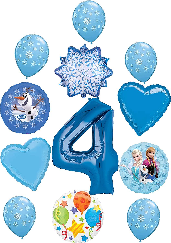 Frozen Party Supplies 4th Birthday Balloon Bouquet Decorations Elsa, Anna and Olaf's Winter Wonderland