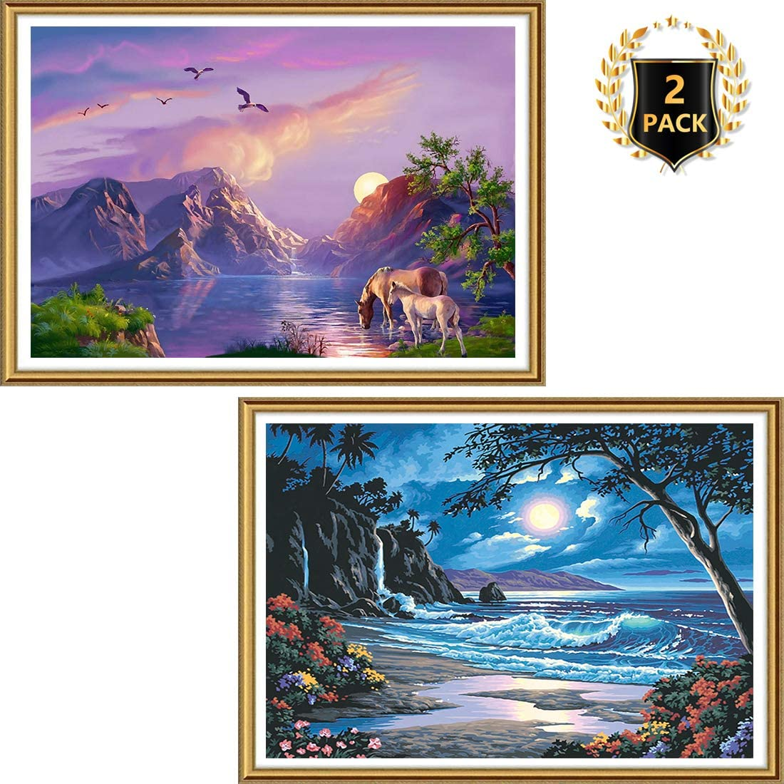 Yomiie 5D Full Drill Diamond Painting Valley Lake & Moonlit Seaside by Number Kits, Landscape Paint with Diamond Art Rhinestone Embroidery Cross Stitch DIY Craft Decor (12x16inch, 2 Pack) a143