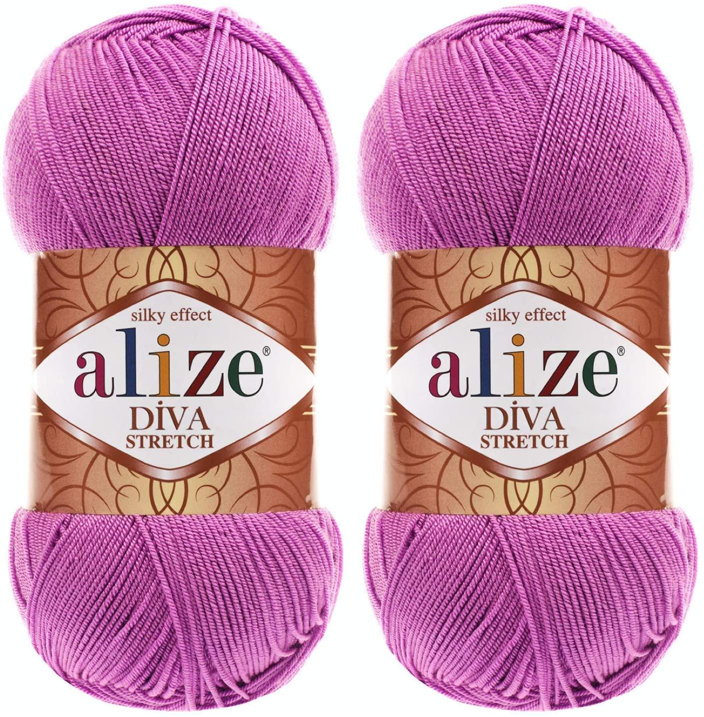 Alize Diva Stretch Thread Crochet Hand Knitting Lot of 2skn 200gr 875yds 100% Elastic Microfiber Acrylic Stretch Bikini Yarn (378-Orchid)